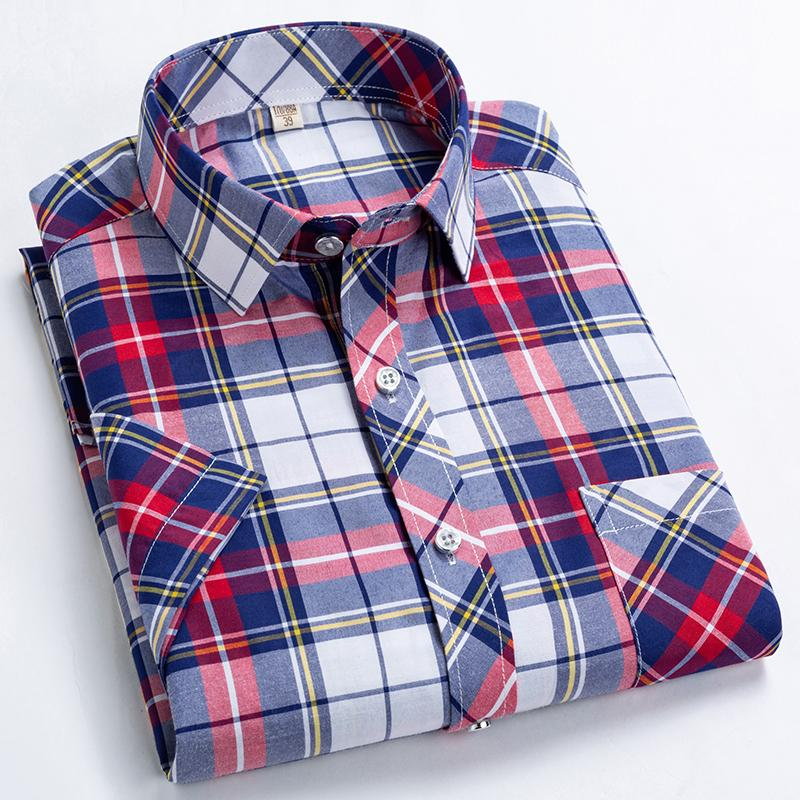New Products 2019 Summer Short Sleeve 100% Cotton Plaid Solid Color Fashion Slim Plus size 5XL Business Casual Men's Shirt