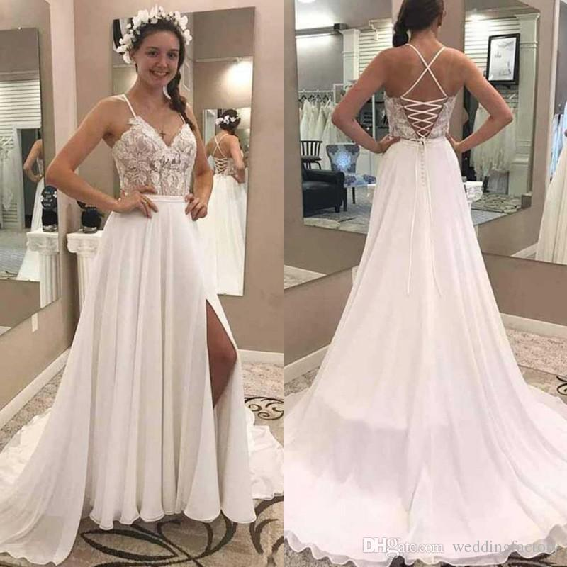 23d971209dc Discount 2019 Boho Beach Wedding Dresses Spaghetti Straps Lace Appliques Top  Corset Back Country Style Bohemian Chiffon Bridal Gowns With Split Wedding  ...