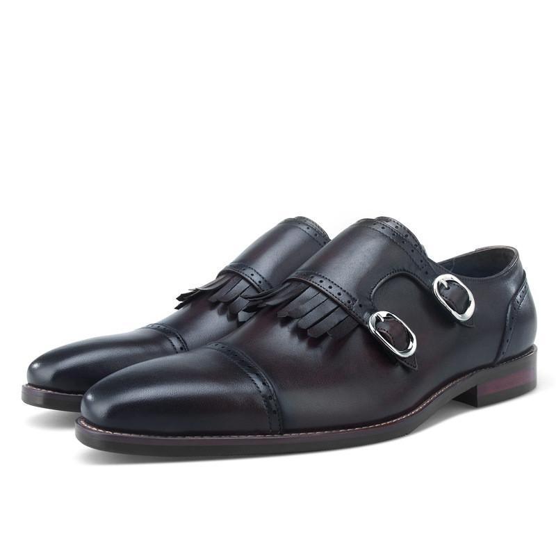 63c2b2aaf7c1a Compre Monje Doble Correa Zapatos Sociales Hombres Zapatos De Vestir  Mocasines De Cuero Genuino Boda Hombre De Negocios A  125.96 Del Rowback