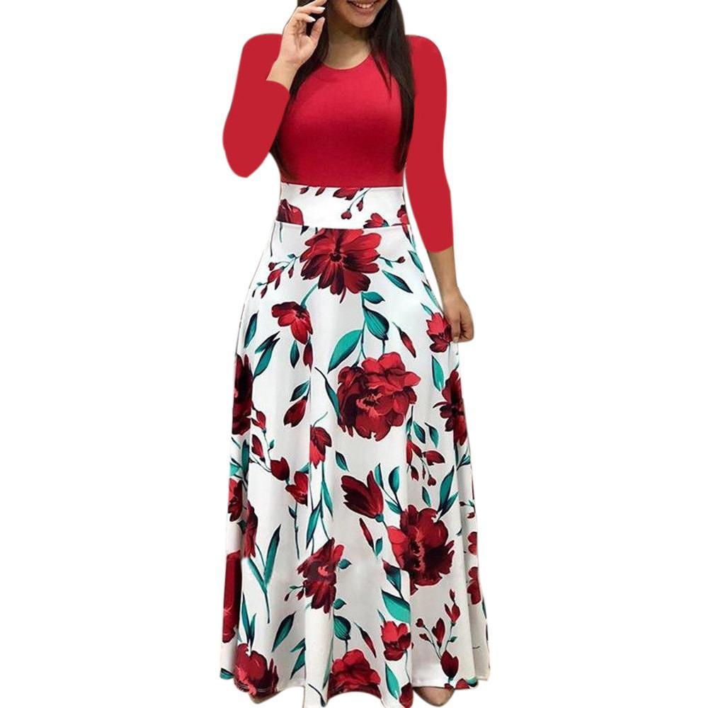 1e058fa9500d Vestido de fiesta de las mujeres de manga larga estampado floral Boho Maxi  vestido de las señoras vestido casual mujer fiesta noche Vestidos Verano ...