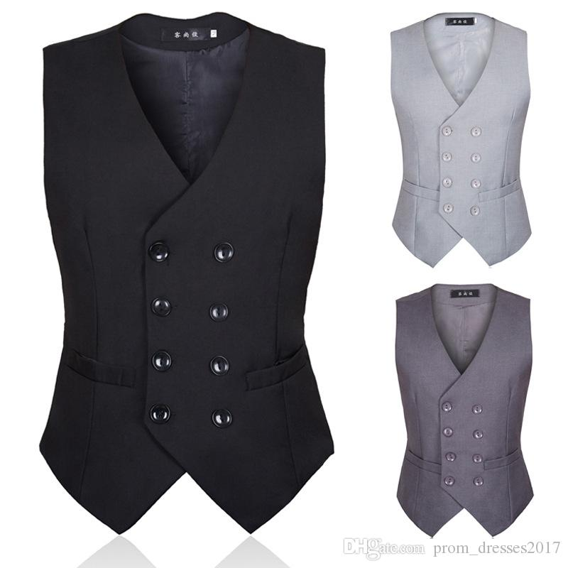 2019 Enhance The Autumn Men Suit Armor British Style And Korean Version Of Black Double-Breasted Body-Shaping Men Suit Waistcoat