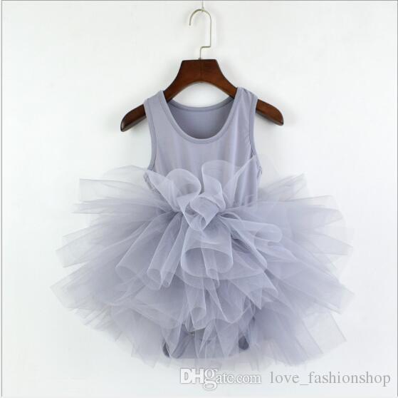 a4327ba0f304 2019 Baby Girls Ruffle Romper Dress Kids Pleated Tutu Ballet Dance ...