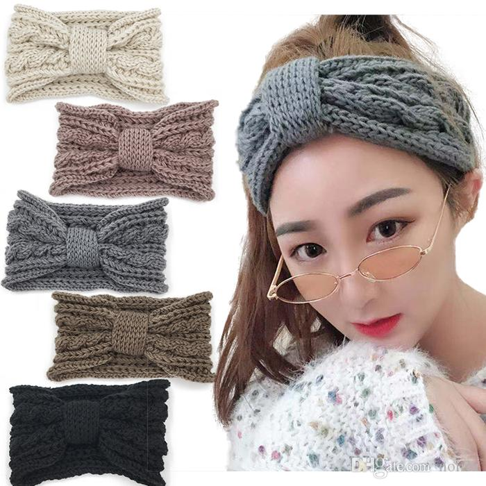 Cute Knot Knitted Headbands For Girls Knitting Crochet Wool Headband Ear  Warmer Winter Warm Thick Headbands Flower Headbands For Women Headbands  Women From ... 574bc059df7