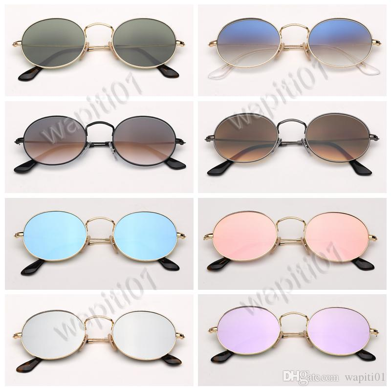 designer sunglasses oval round metal real top quality brand fashion sunglasses for women man with leather case, cloth, retailing packages!!