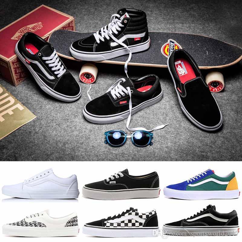 745f45fb7a6 Compre Sapatos Casuais VANS Old Skool Autêntico Lona Sapatos De Skate  Designer De Mulheres Dos Homens Tênis De Corrida Para Homens Trainer  Sneakers Esporte ...