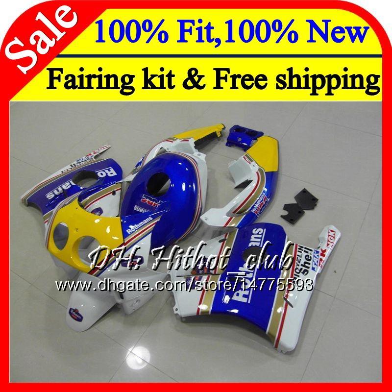Injection Body+Tank For HONDA CBR 250RR 250R CBR250RR 88 89 76HT11 Rothmans Blue CBR 250 RR MC19 CBR250 RR 1988 1989 Fairing Bodywork Kit