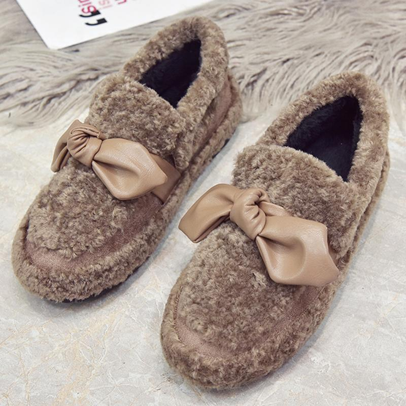 aee2a806b2f8 Moxxy Fur Furry Winter Slippers Women Bow Knot Warm Flat Shoes Outdoor  Indoor House Home Slippers Plush Casual Shoes Woman Slippers Cheap Slippers  Moxxy Fur ...