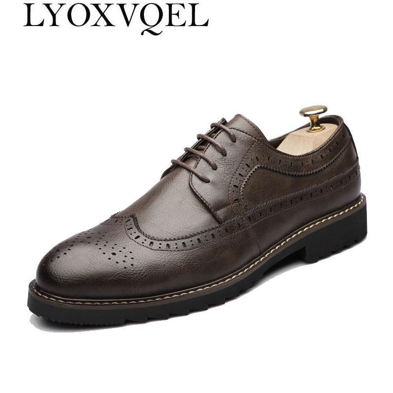 7b44e5ba50 Compre Zapatos De Cuero De Los Hombres Con Cordones Zapatos De Vestir De  Negocios De Los Hombres Modernos Vestido De Boda Del Partido Calzado Formal  Vestido ...