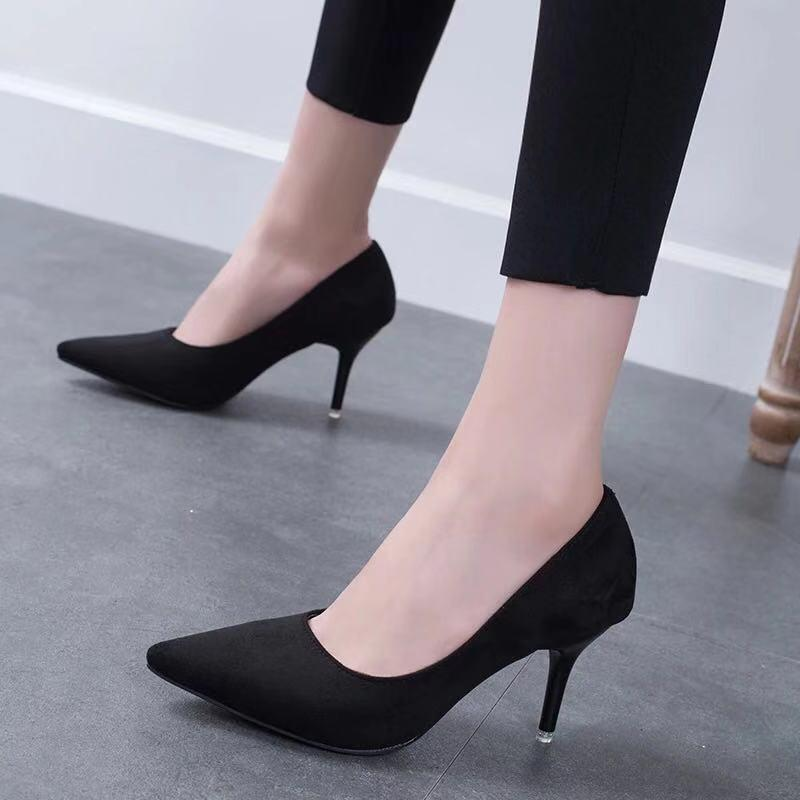 26ccd8eb1d Compre Tacones Para Mujer Moda Para El Dedo Del Pie Puntiagudo Zapatos De  Oficina Tacones De Aguja Para Mujer Zapatos Negro Beige Marrón Gris Rojo  Rosa Seis ...