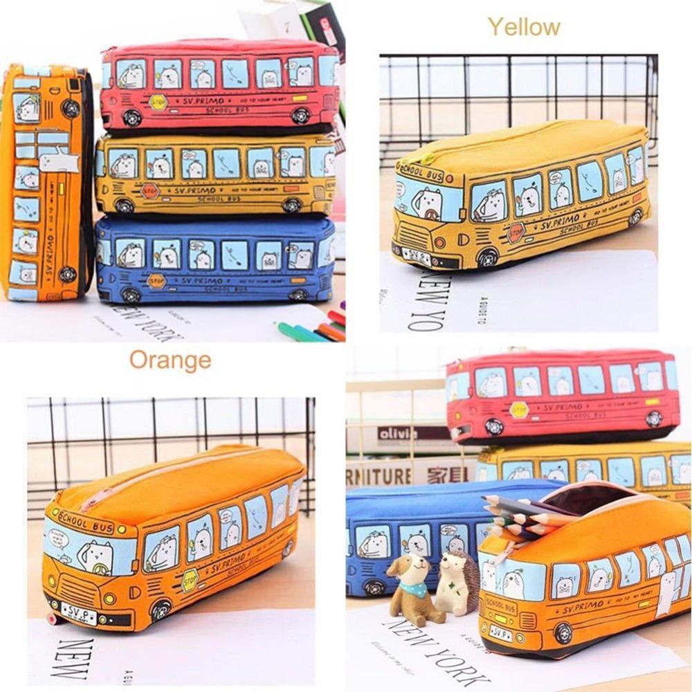 Kawaii Cute School Bus Pencil Storage Case Large Capacity Canvas Car  Pencilcase Pen Bags School Supplies Creative Children Gift