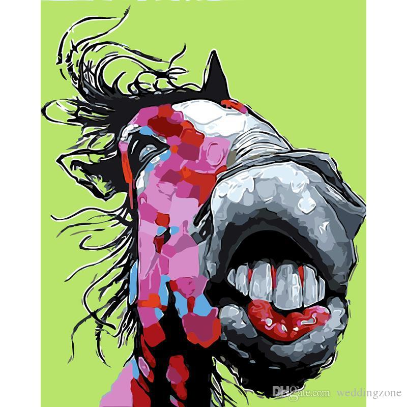 DIY Oil Painting By Numbers Big mouth Horse 50*40CM/20*16 Inch On Canvas For Home Decoration Kits for Adults [Unframed]