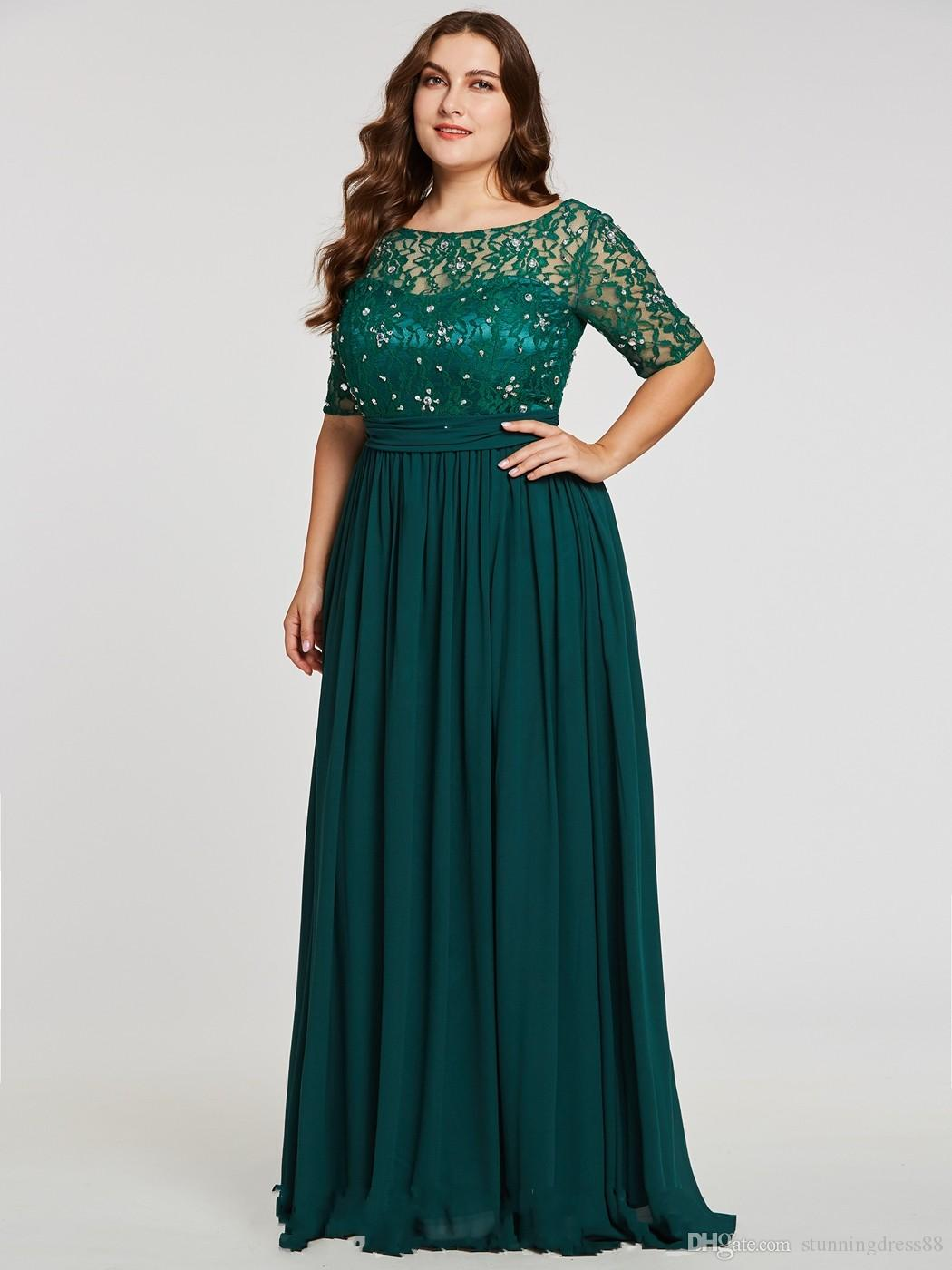 Teal Plus size Lace Chiffon Bridesmaid Dresses Long Cheap Designer Jewel  Sheer Neck Short Sleeves Sequin Beaded Formal Evening Gowns