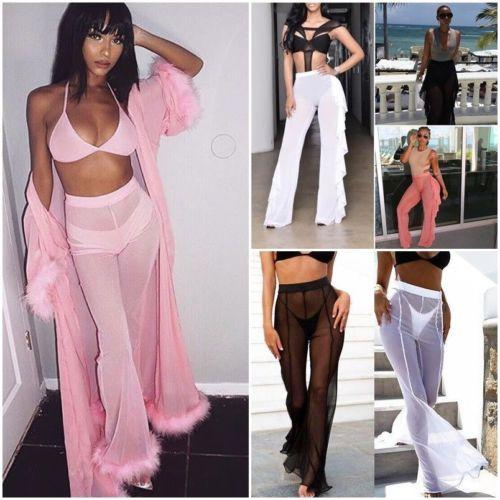 9cede6c088 2019 Women High Waist See Through Flared Leg Mesh Summer Beach Bikini Cover  Pants From Workwell, $41.13 | DHgate.Com
