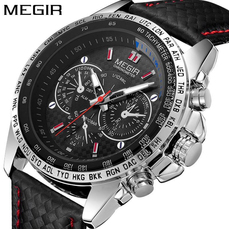 29176feae65d Compre Megir Relojes Para Hombre Marca De Lujo Superior Relojes Masculinos  Ejército Militar Hombre Reloj Deportivo Correa De Cuero Cuarzo De Negocios  ...