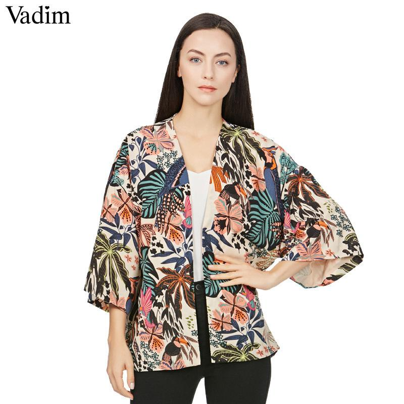 Vadim Women Vintage Floral Loose Kimono Shirts Oversized Open Stitch Coat Ladies European Style Casual Fashion Tops Ct1461 Y19050501