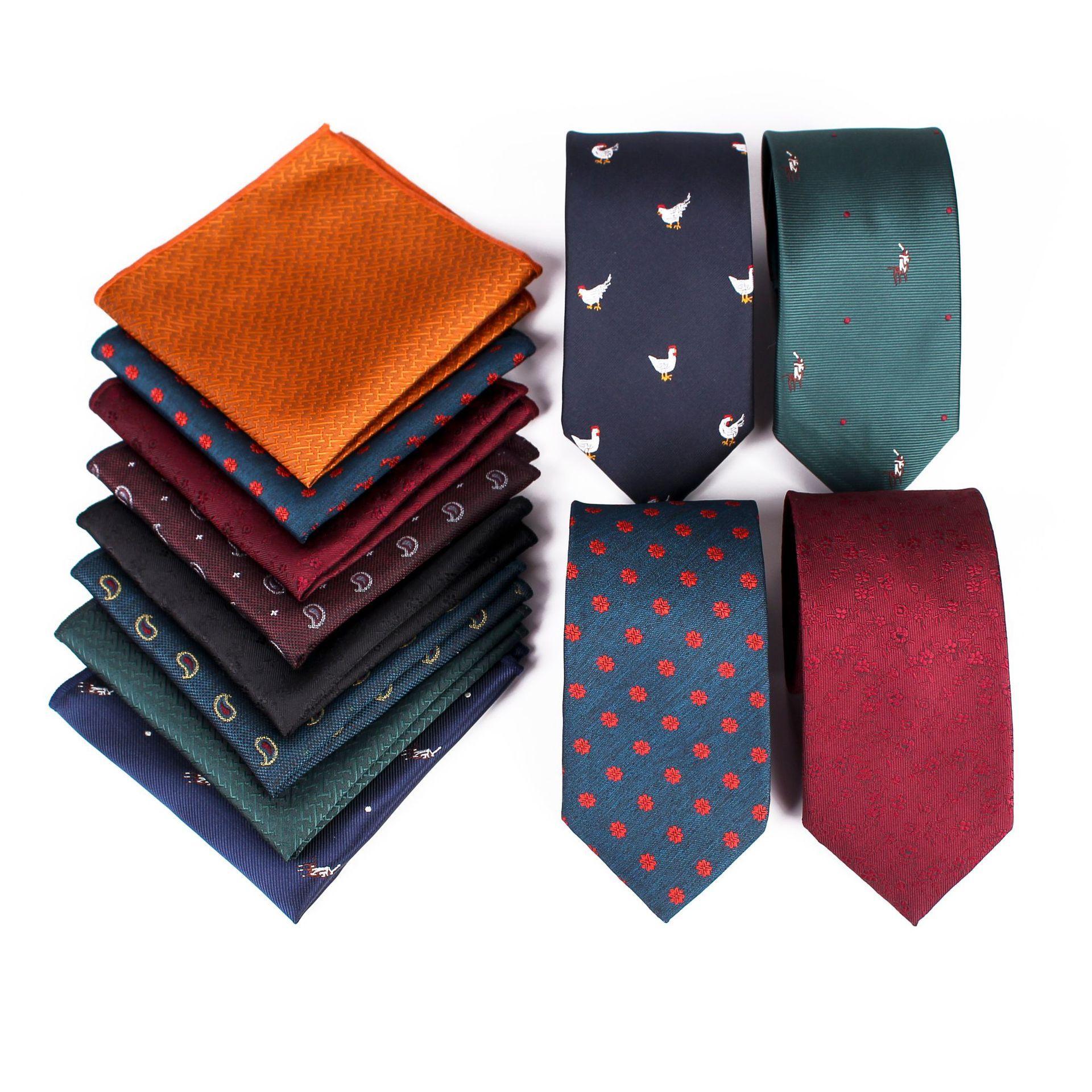 38296eecbd9e New necktie suit printed cotton tie pocket towel fashionable two setsTie  Men's Business Recreation Party is wearing a tie suit decorated wit