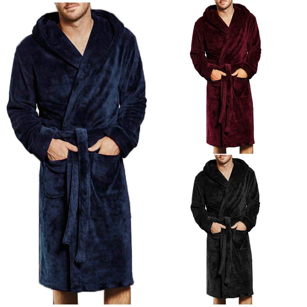 6fc6f4be21 Autumn Gentlemen Flannel Fleece Bath Robes Pajamas Plus Size ...