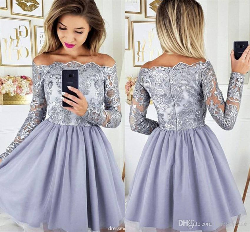Fashion Lavender Long Sleeves Lace Homecoming Dresses A Line Elegant Off  Shoulders Appliques Mini Short Cocktail Prom Gowns White Short Homecoming  Dress ... 624a6830f