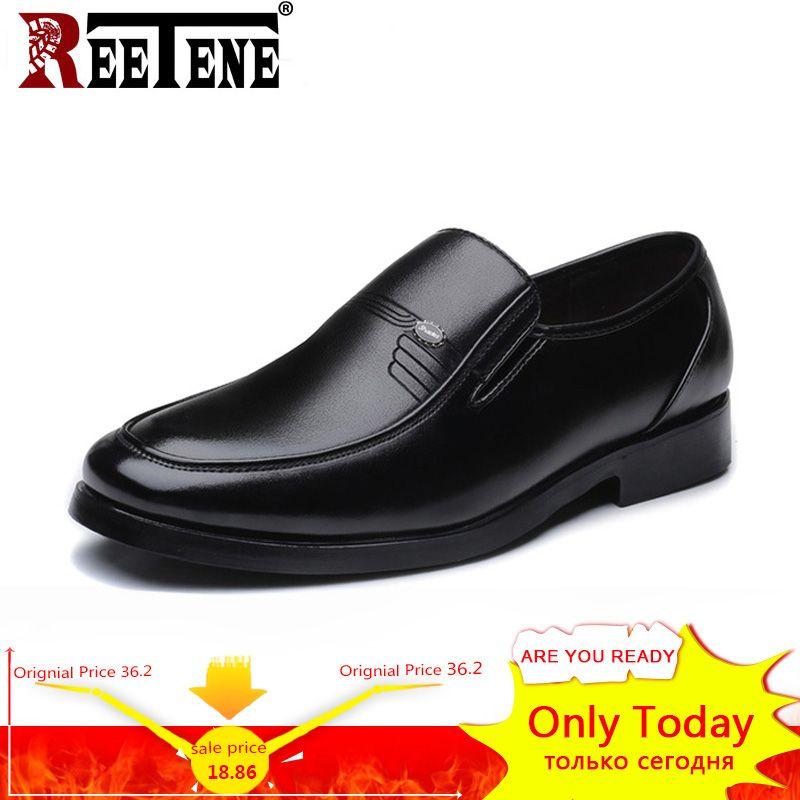 7057ceab1a9 REETENE 2018 Fashion Leather Men Dress Shoes Business Classic Gentleman Shoes  Men Soft Casual Round Toe Men Shoes Big Size 38 48 Cheap Shoes Online  Fashion ...