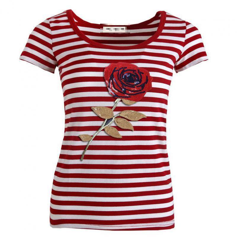 749b560a Casual Red Stripe Women T Shirt Fashion Stitching Rose Flower Harajuku  Female Tops Cotton Short Sleeve Summer Tees Plus Size T Shirt Deals Humor  Shirts From ...