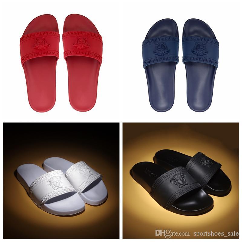 17ebfbec2 Medusa Luxury Designer Slippers Men Women Summer Black White Red Blue Beach  Slide Fashion Scuffs Sandals HighQuality Outdoor Shoes Size36 46 Sheepskin  ...