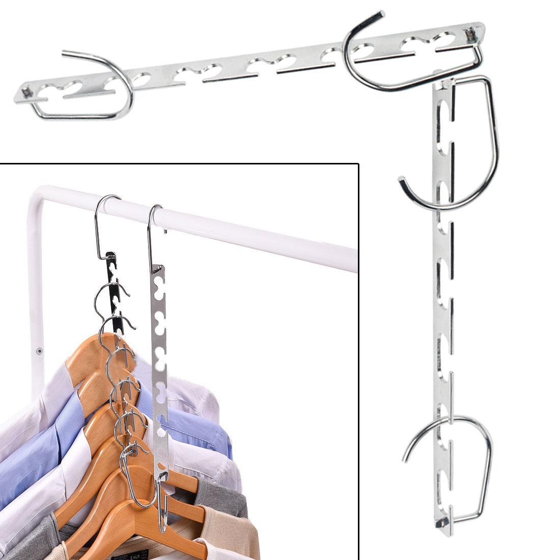 Multi-função de metal guarda-roupa cabide de armazenamento salvar o espaço de metal cabide com gancho magia 6 furos roupas de armazenamento de roupas armário