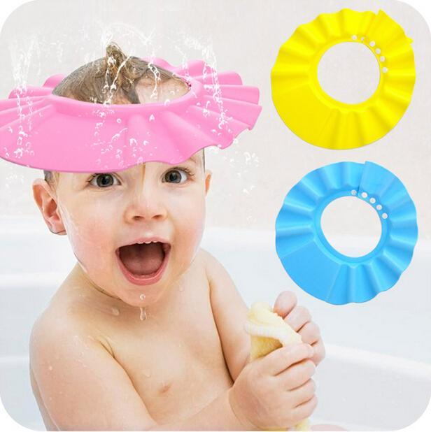 Adjustable Baby Shower Cap Children Shampoo Bath Wash Hair Shield Hat Bathing Bebes