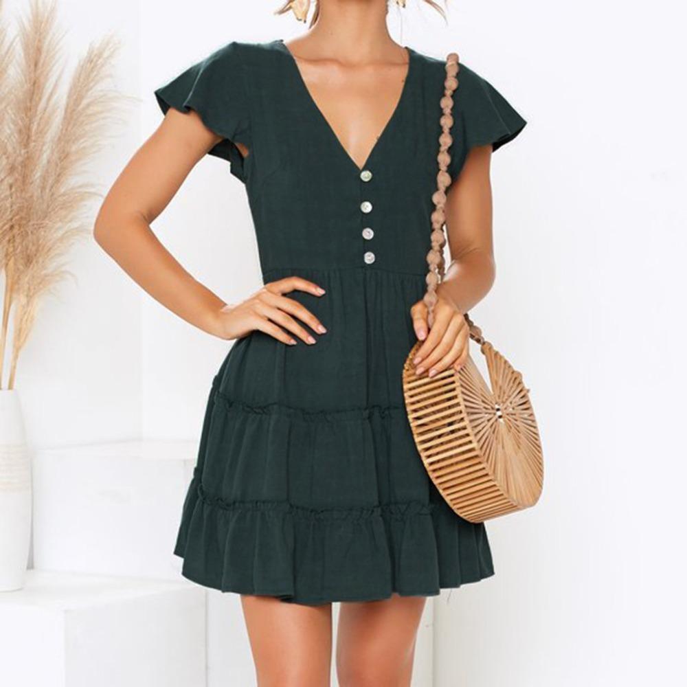 b13a316676291 2019 new summer hot Women s Ladies Solid Short Sleeve V-Neck Casual Mini  Dress Summer Dresses vestidos de verano jurken mujer#F7