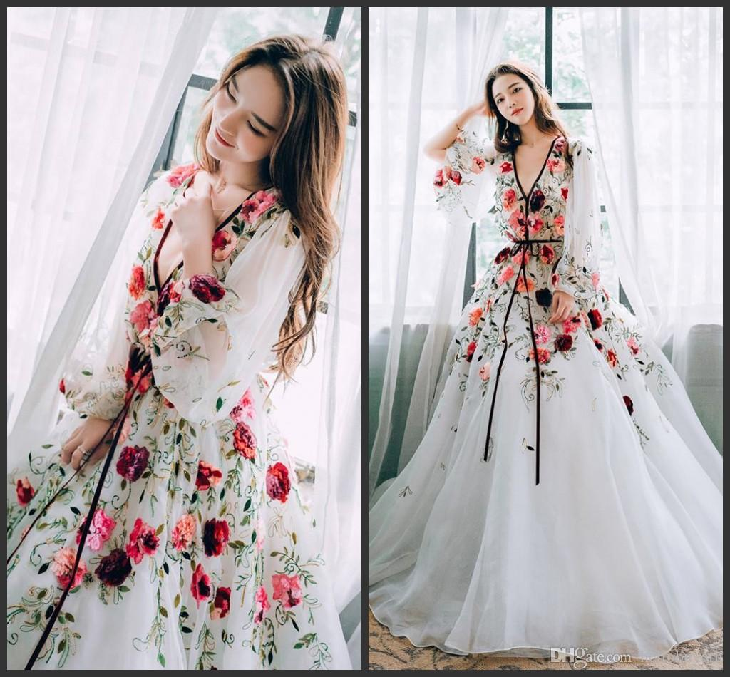 d69177ba559 White Organza Long Sleeve Muslim Evening Dresses 2019 New Embroidery Party Evening  Gowns Sleeves V Neck Prom Dresses Long Cheap Evening Dresses Long Evening  ...