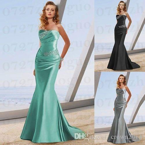 Grey Sexy Mermaid Bridesmaid Dresses Sweetheart Beaded Ruched Soft Satin Lace Up Back Court Train Cheap Custom Made Plus Size Wedding Guest