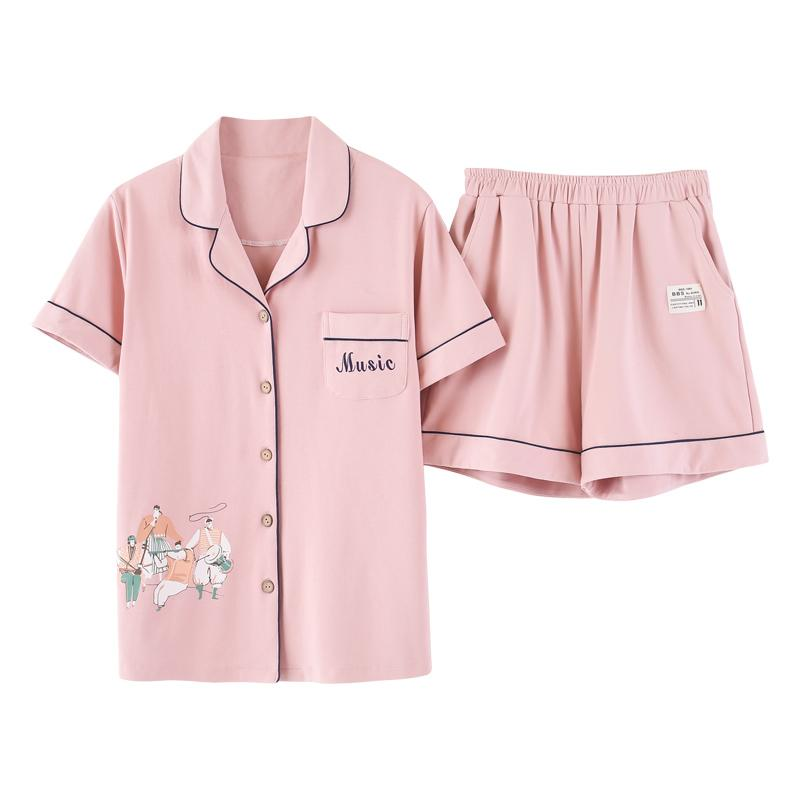 d1393945fd Summer 100%Cotton Women Pajamas Set Short Sleeve Pyjamams Women Turn ...