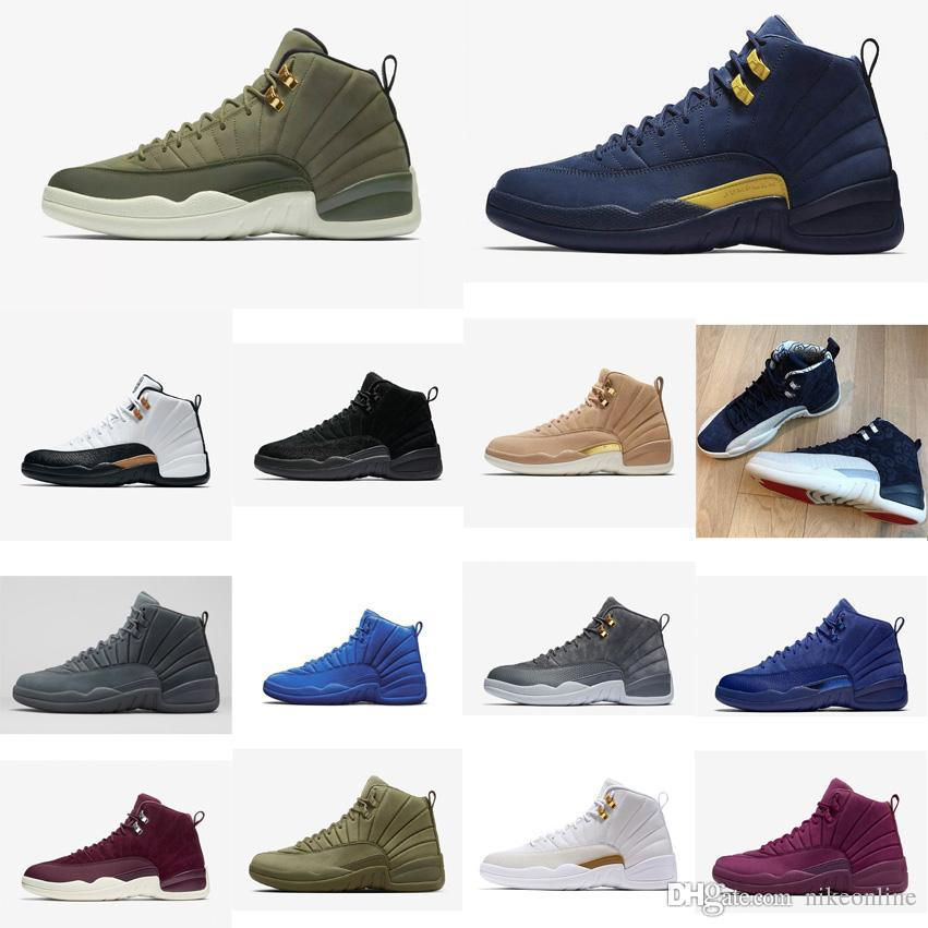 online store fdc48 d4e69 Mens Jumpman 12 XII shoes Chris Paul CP3 Graduation Pack Michigan Wool  Wings French Blue White Olive Green 12s sneakers with box