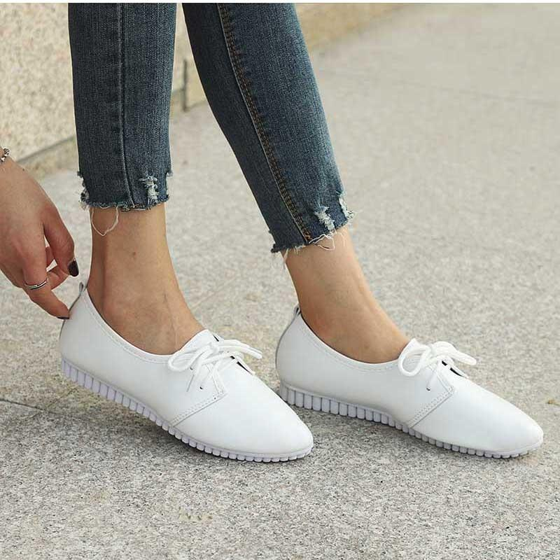 e667d2da964a Designer Dress Shoes Khtaa Women Spring Lace Up Low Heels Pointed Toe  Casual Wedge Ladies High Quality Pu Comfortable Shoe Woman Leisure Geox  Shoes Dress ...