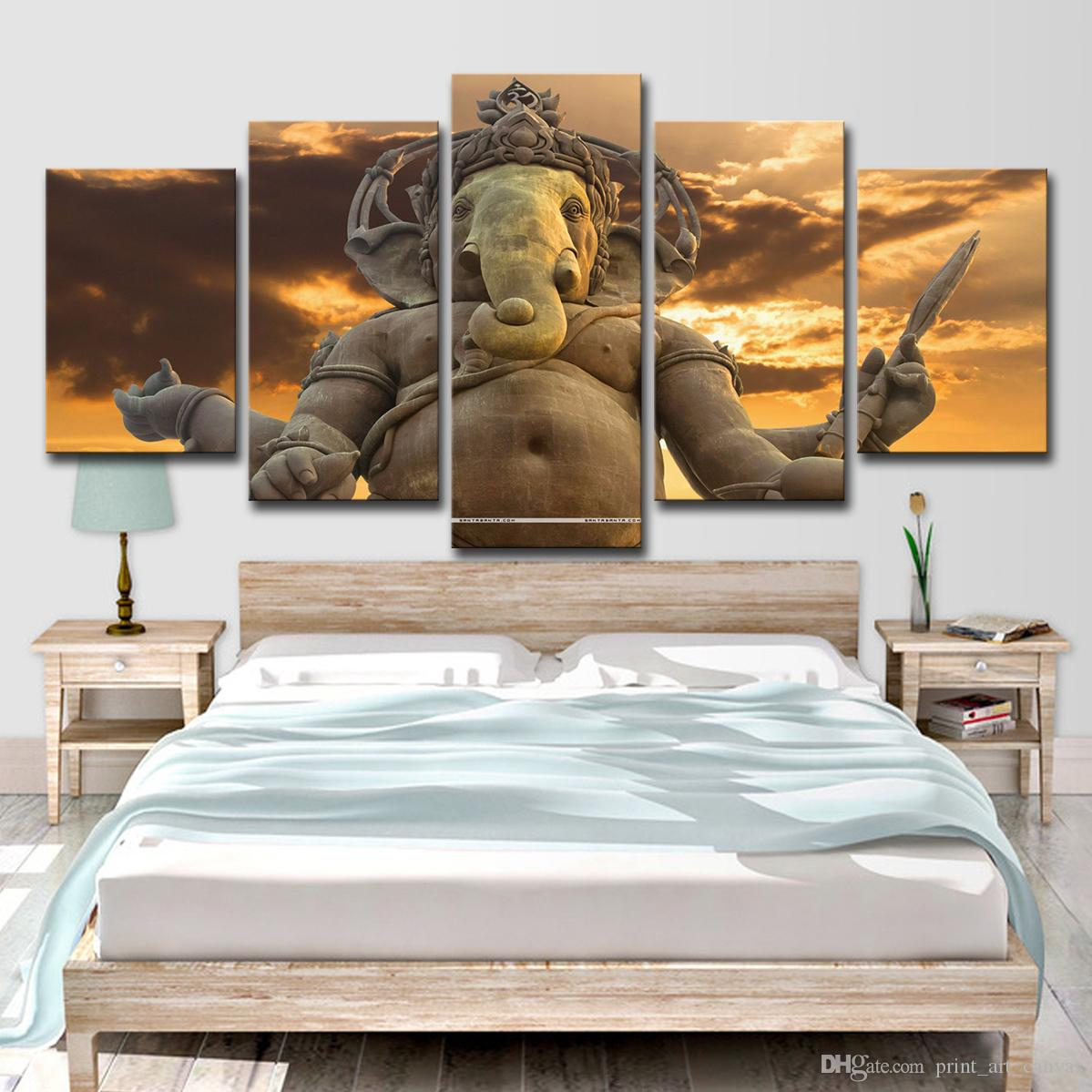 Modern Canvas HD Printed Poster Home Wall Art Pictures 5 Piece India Tibetan Buddhism Ganesha Abstract Painting Room Decor