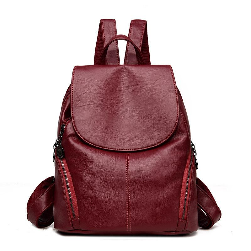 82632d8068 Fashion Female Backpack Leather Large Bags For Women Designer Brand High Quality  Backpack Vintage Backpacks For Teenage Girls Hiking Backpack Swiss Gear ...