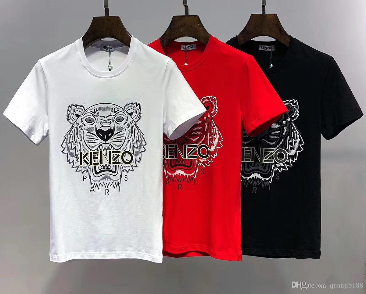 4543e54b12aa 2019 Summer Fashion New Design Men's Round-Neck Short Sleeve T-shirt Print  Tiger Paris Cotton Mens Casual Tee Shirts 6624