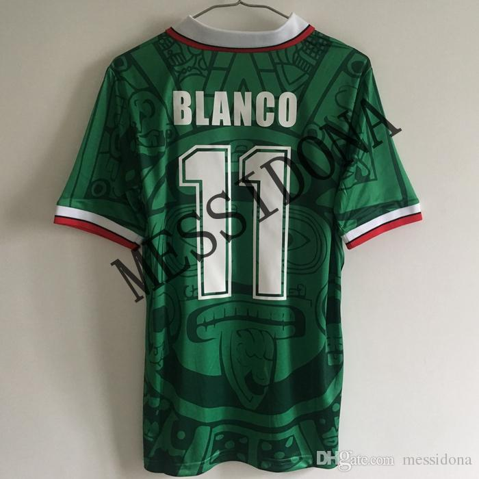 930ac2564 2019 1998 MEXICO HOME AWAY BLANCO 11 HERNANDEZ 15 CAMPOS Retro Soccer Jersey  Retro Thailand Quality Football Shirt Kit Camiseta Futbol Maillot De From  ...
