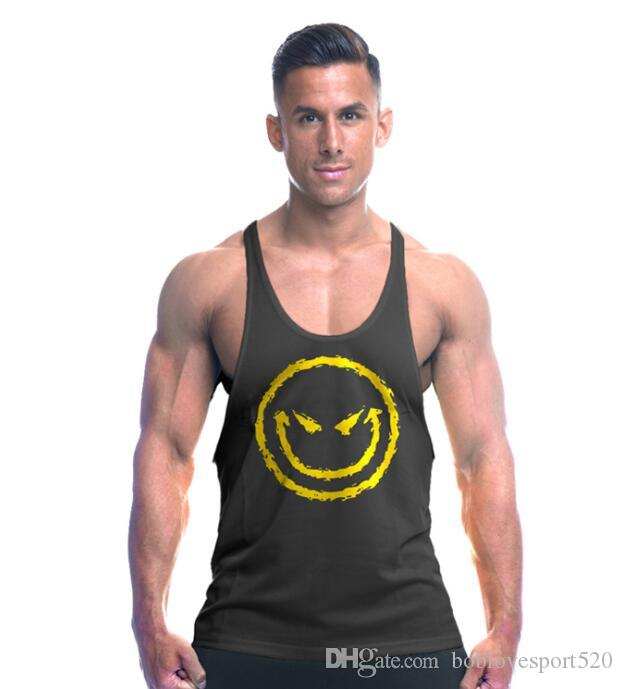 4f7fe519d10a60 vest Smiling face logo Men  s Sleeveless Tank Top Compression Tights Men  Sport Best Running Tank top Quickly Dry Running Gym Fitness vests
