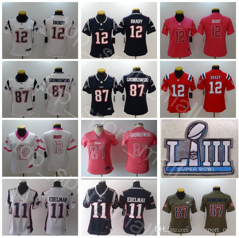 wholesale dealer 354a3 81c82 Football Super Bowl Patch LIII Women Tom Brady Jersey 12 Patriots Lady 11  Julian Edelman 87 Rob Gronkowski Woman Dark Blue White Pink