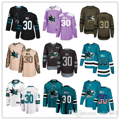 sale retailer 076cb 65dce San Jose Sharks jerseys #30 Aaron Dell Jersey ice hockey men women youth  blue white black teal green drift Stiched Fanatics Jerseys