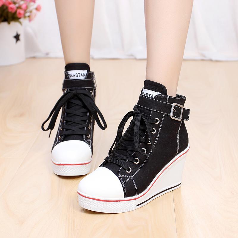 eac26b95daf7 Women Girls High Top Canvas Wedge Heel Lace Up Platform Sneakers ...