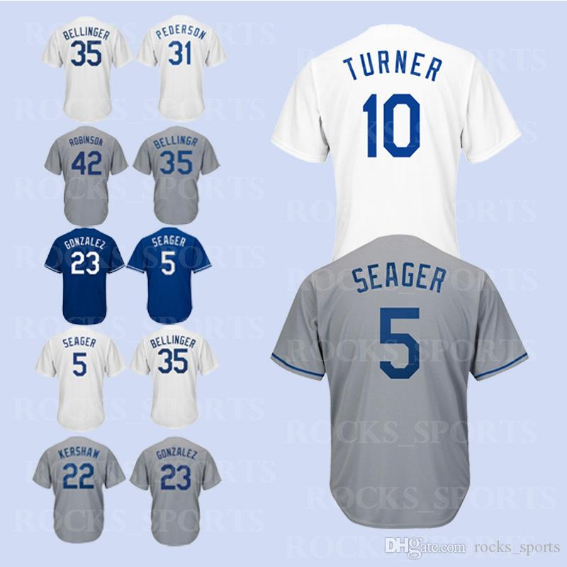 2019 Los Angeles Dodgers Jerseys 3 Chris Taylor 5 Corey Seager 10 Justin  Turner 14 Enrique Hernandez 22 Clayton Kershaw 23 Adrian Gonzalez From  Rocks sports ... 62d021e148d