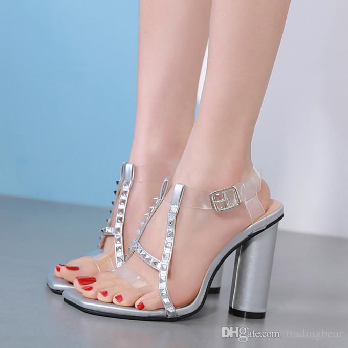 2019 Silver Rivets Transparent PVC Column High Heels Designer Sandals  Wedding Shoes Size 34 To 40 Women Shoes Summe Sandals Rhinestone Shoes  White Sandals ... 348a2ac62c20