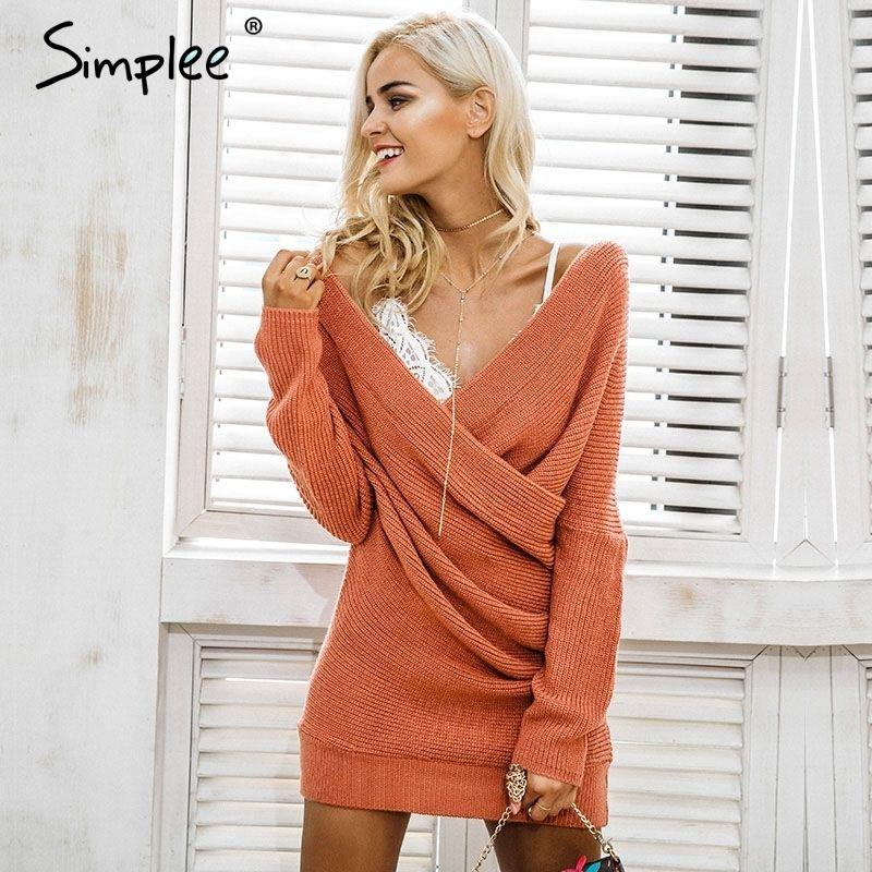 fafad8d77c3 Großhandel Simplee Sexy V Ausschnitt Kreuz Strickpullover Dress ...
