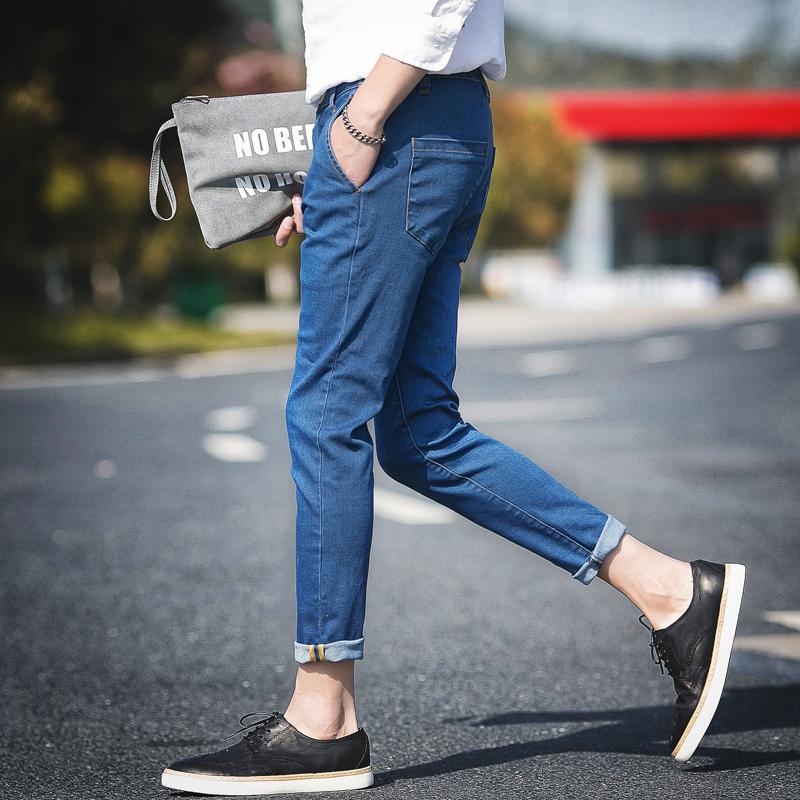 2019 New Fashion Wild Youthful Jeans Japanese Casual Style Harem Pants Handsome Comfortable Nine Points Pants