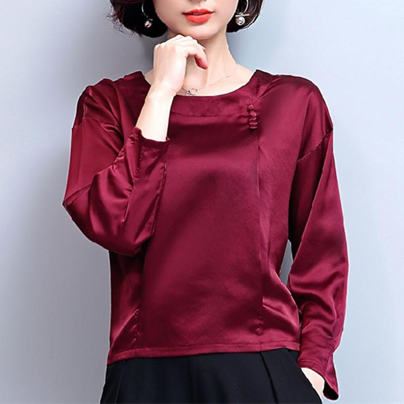 0a152a3535253a 2019 Women Silk Blouse Blusas Mujer De Moda 2019 Shirts Korean Fashion  Autumn Tops Casual Blouses Femme Blusa Plus Size 3XL 4XL From  Lovegucci8888