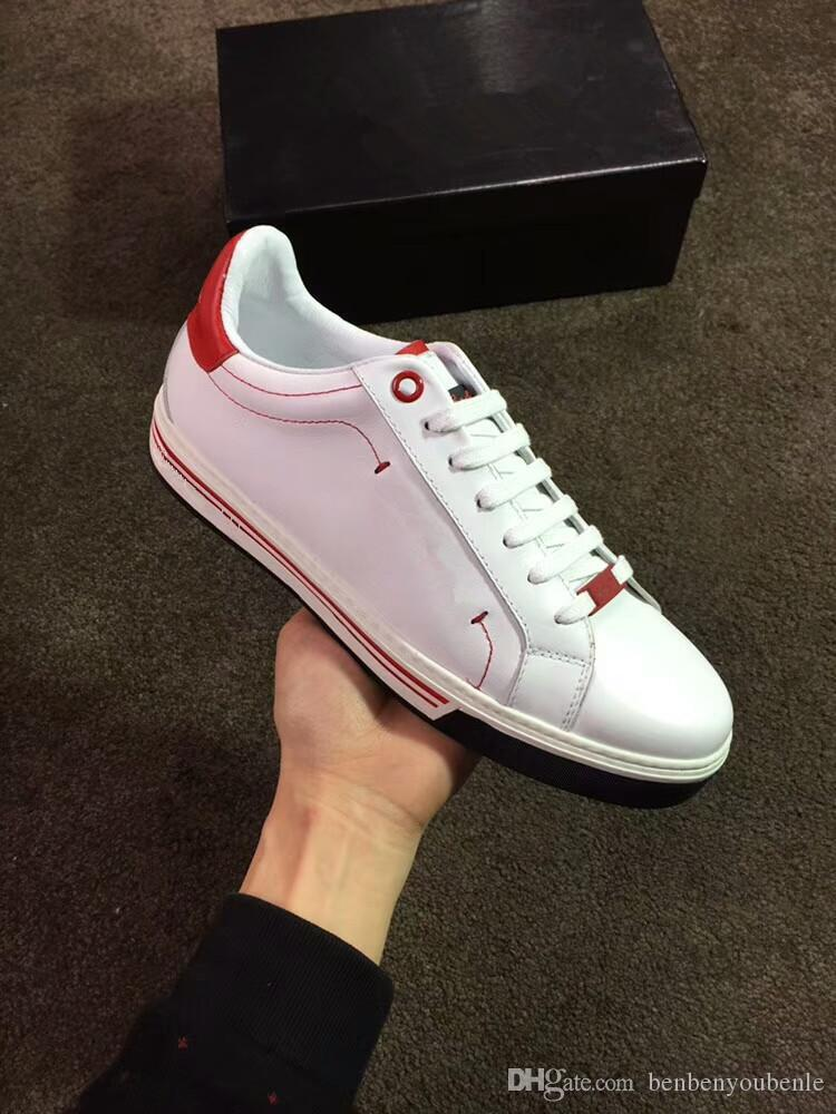 Original Cheaper Red Bottom Sneakers Gold White Genuine Leather Casual Shoes Men's Luxury Party Trainers -- Birthday Gift 38-44