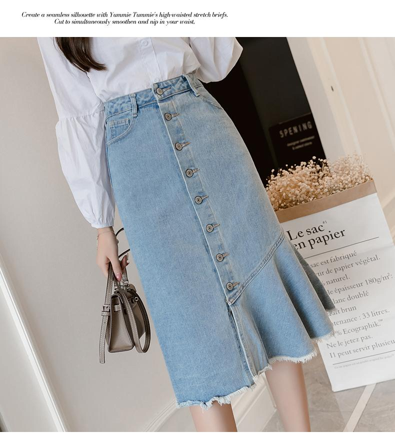 240ac257c Falda larga del dril de algodón más el tamaño 4XL 5XL Botón de las mujeres  Borla delgada de cintura alta Faldas de las mujeres Otoño Invierno ...
