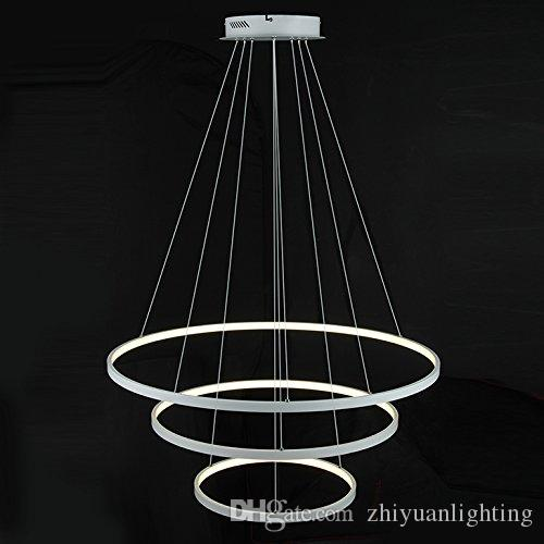 Modern LED Acrylic Pendant Lights 3 Rings Chandeliers White/Black Color 90W  for Office Dining Room Living Room