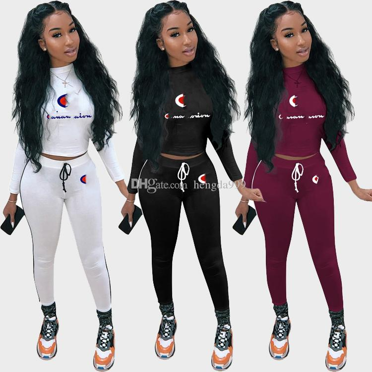 2019 CHAMP Letter Embroidery Print Tracksuit 2019 Women Fashion Outfits Top  Pants Women Set Outfit Ladies Bandage Sportswear Clothes From Hengda168 8c3b2b4df9b5